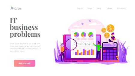 Business analysis landing page template Vektorgrafik