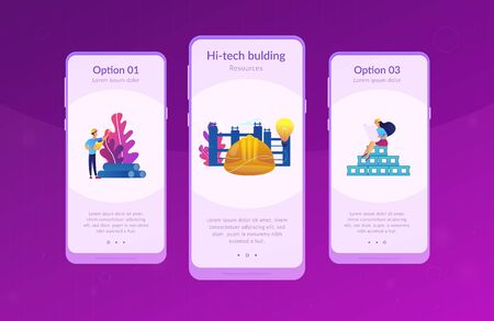 Building engineers using smart materials. Innovative construction materials, construction technology innovation, hi-tech bulding resources concept. Mobile UI UX GUI template, app interface wireframe