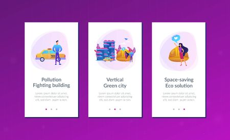 Business people like ecologic building with plants on balconies. Vertical green city, pollution fighting building, space-saving eco solution concept. Mobile UI UX GUI template, app interface wireframe