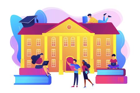 Students interacting with each other, making friends at university. College campus tours, university campus events, on-campus learning concept. Bright vibrant violet vector isolated illustration Illustration