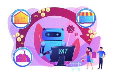 Artificial intelligence, ai calculating taxation multiplier. Value added tax system, VAT number validation, global taxation control concept. Bright vibrant violet vector isolated illustration