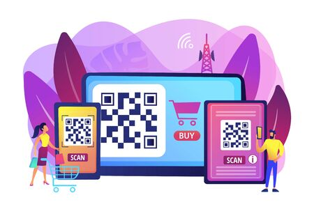 Barcode reading app, qrcode reader epayment transaction application. QR code scanner, QR generator online, QR code payment concept. Bright vibrant violet vector isolated illustration
