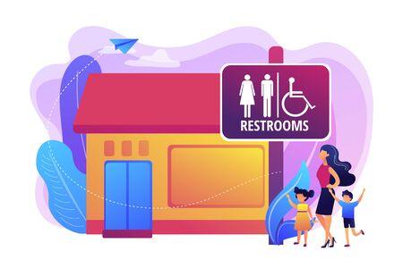 Madre con bambini che vanno in bagno, bagno. Segno della stanza di riposo. Servizi igienici pubblici, servizi igienici pubblici, regole e regolamenti dei bagni pubblici. Illustrazione isolata di vettore viola vibrante luminoso