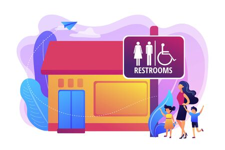Mutter mit Kindern, die zur Toilette gehen, Badezimmer. Ruheraum-Zeichen. Öffentliche Toiletten, öffentliche Toilettenanlagen, Regelkonzept für öffentliche Toiletten. Helle, lebendige violette Vektor-isolierte Illustration