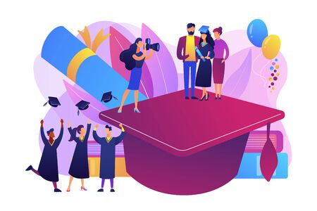 Graduating with friends. Proud parents with graduated student. Graduation day, getting an academic degree, graduation announcements concept. Bright vibrant violet vector isolated illustration Stock Vector - 128545748