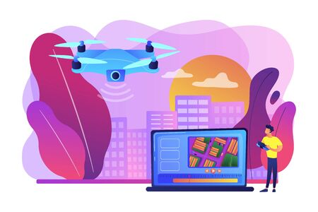 Birds eye view position. Live streaming droning, flight. Aerial videography, professional aerial video, drone inspection service concept. Bright vibrant violet vector isolated illustration
