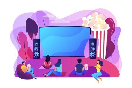 Serata al cinema con gli amici. Guardare film su grande schermo con sistema audio. Cinema all'aperto, cinema all'aperto, concetto di attrezzatura per il teatro nel cortile. Illustrazione isolata di vettore viola vibrante luminoso