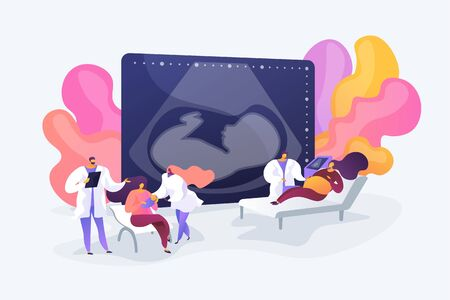 Pregnant women at maternity ward. Getting professional assistance. Maternity services, maternal perinatal health, pregnancy and birth care concept. Vector isolated concept creative illustration