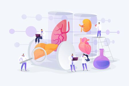 Growing body parts in science laboratory. Great scientific achievement, success Lab-Grown Organs, bioartificial organs, artificial organ concept. Vector isolated concept creative illustration Illustration