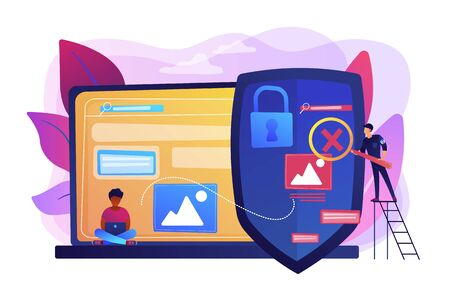 Prohibited, illegal sites, resources. Copyright protection from scamming. Media content control, media use regulations, online media police concept. Bright vibrant violet vector isolated illustration