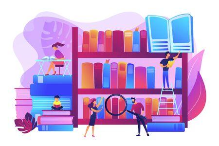 Lecture de livres, encyclopédies. Les étudiants étudient, apprennent. Événements de bibliothèque publique, tutorat et ateliers gratuits, concept d'aide aux devoirs de bibliothèque. Illustration isolée de vecteur violet vif lumineux