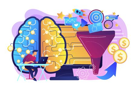 Artificial intelligence assistant. Deep learning algorithm. AI-powered marketing tools, AI e-commerce search, AI customer recommendations concept. Bright vibrant violet vector isolated illustration