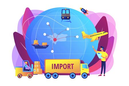 Company specializing in foreign products. Import of goods and services, import goods services, international sales process concept. Bright vibrant violet vector isolated illustration Vettoriali
