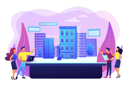 Augmented reality urban modeling, city VR experience. Interactive design visualization, virtuality architecture, virtual reality experiences concept. Bright vibrant violet vector isolated illustration Illustration