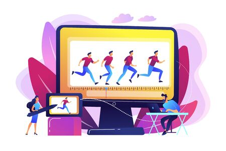 Animator working on character movement. Designing frames of walking. Computer animation, cartoon video creation, make your story alive concept. Bright vibrant violet vector isolated illustration