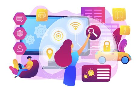 People interacting with technology. Smart, user-oriented design. Intelligent user interface, usability engineering, user experience design concept. Bright vibrant violet vector isolated illustration Stock Illustratie