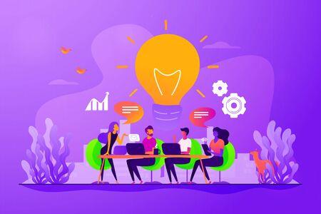 Austausch von Gedanken, Ideen, Teamarbeit in Unternehmen. Kollegen, die am Projekt arbeiten. Starten Sie den Start, Geschäftserfolg, Brainstorming-Meeting-Konzept. Kreative Illustration des isolierten Konzepts des Vektors Vektorgrafik