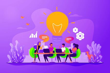 Sharing thoughts, ideas, teamwork in company. Colleagues working on project. Start up launching, business success, brainstorm meeting concept. Vector isolated concept creative illustration