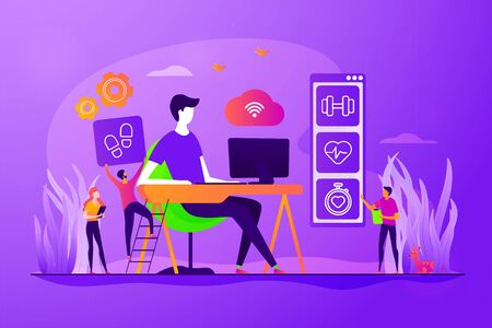 Activity and break reminder, app. Sedentary work, inactive lifestyle. Fitness tracker. IOT office desk, health tracking, working activity place concept. Vector isolated concept creative illustration