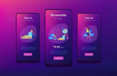 Business people use clean renewable electric energy in the city. Renewable energy, renewable power resources, rural energy services concept. Mobile UI UX GUI template, app interface wireframe
