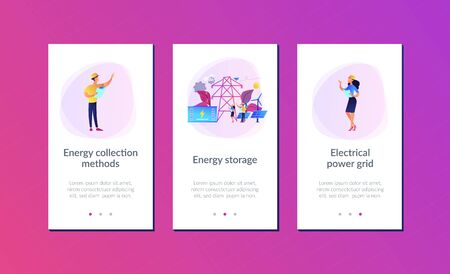 Battery energy storage from renewable solar and wind power station. Energy storage, energy collection methods, electrical power grid concept. Mobile UI UX GUI template, app interface wireframe Ilustração