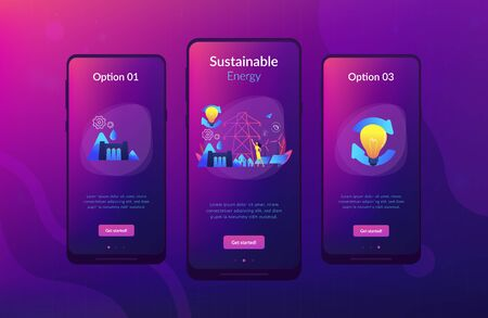 Scientist with sustainable development ideas solar panels, hydropower, wind. Sustainable energy, future-oriented energy, smart energy system concept. Mobile UI UX GUI template, app interface wireframe