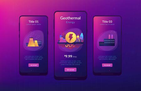 Geothermal energy app interface template.
