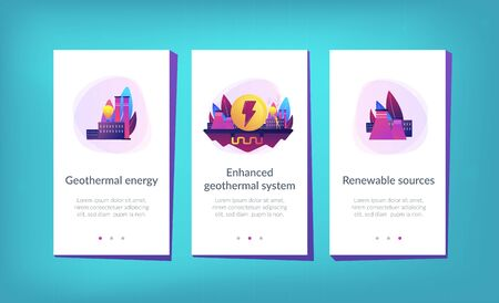 Eco friendly geothermal renewable energy plant and light bulb. Geothermal energy, renewable sources, enhanced geothermal system concept. Mobile UI UX GUI template, app interface wireframe