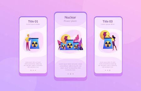 Engineers working at nuclear power plant reactors releasing energy. Nuclear energy, nuclear power plant, sustainable energy source concept. Mobile UI UX GUI template, app interface wireframe Illustration