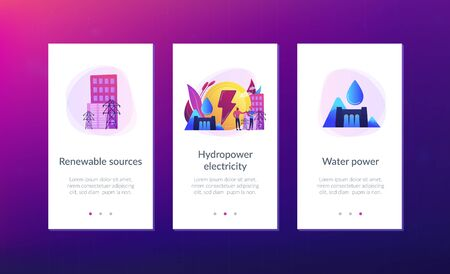 Engineers working at hydropower dam producing falling water energy. Hydropower electricity, water power, renewable sources concept. Mobile UI UX GUI template, app interface wireframe