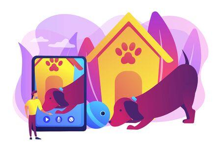 Aplicación de paseador de perros y cuidador de mascotas en el teléfono inteligente. Cuidadores de mascotas robóticos, entretenimiento interactivo para mascotas, no pierda de vista su concepto de mascotas. Ilustración aislada de vector violeta vibrante brillante