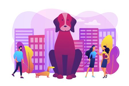 Dog lovers. People walking with puppies outdoors, in public place. Pet in the big city, city pets walking place, dogs convenient city concept. Bright vibrant violet vector isolated illustration
