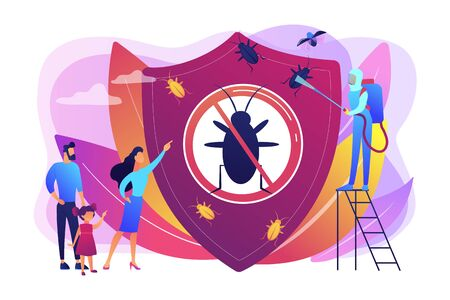 Sanitary domestic disinfection. Chemical treatment insects. Home pest insects control, vermin exterminator service, insect thrips equipment concept. Bright vibrant violet vector isolated illustration Foto de archivo - 128545812
