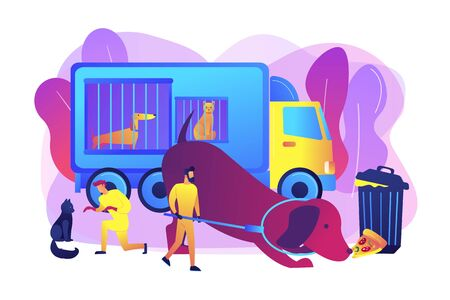 Homeless animals care, transporting dogs to shelters. Animal control service, catching of stray dogs and cats, actual urbanistic problems concept. Bright vibrant violet vector isolated illustration