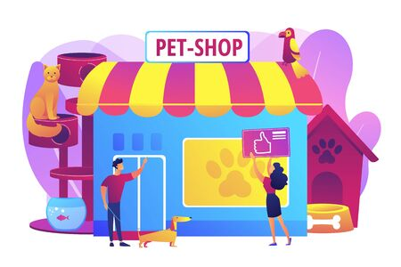 Pet store, dog care. Animal products. People shopping for their pets. Animals shop, best animals supplies, pet goods e-shop concept. Bright vibrant violet vector isolated illustration