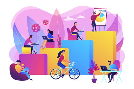 Office interior. People working in creative workspace on open space. Modern workplace, employee happiness, how to boost productivity concept. Bright vibrant violet vector isolated illustration