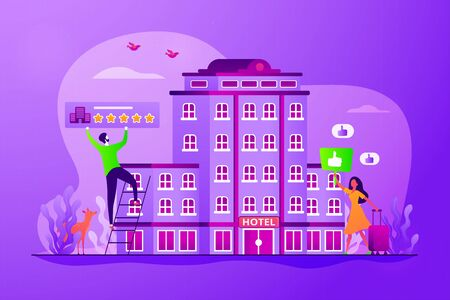 Traveler accommodation, apartment and motel booking. Hostel rating and reviews. Lifestyle hotel, modern hospitality trend, cutting-edge hotel concept. Vector isolated concept creative illustration Ilustração