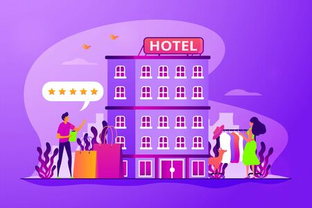 Woman buying clothes in hotel. Hotel facilities. Tourists rating accommodation. Boutique hotel, ultra-personalized service, high-end residential concept. Vector isolated concept creative illustration