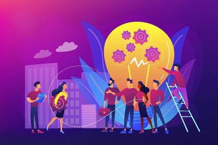 Company newcomers, personnel, staff. New team members, adaptation of new employees, first days in company, new employees training concept. Bright vibrant violet vector isolated illustration Çizim