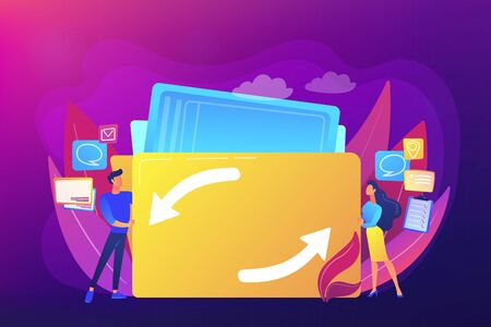 Delegating duties and responsibilities to colleagues. Job sharing, alternative work schedule, collaborative employment, division of a job concept. Bright vibrant violet vector isolated illustration