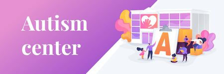 Special needs children rehabilitation school. Social workers, educators. Autism center, treatment of autism spectrum disorder, kids autism help concept. Header or footer banner template with copy space. Illustration