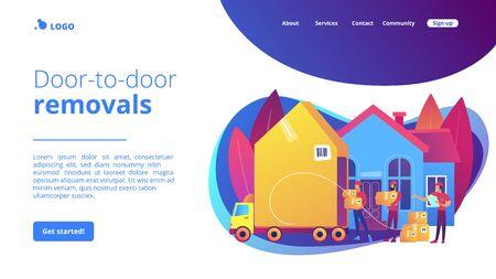 Page de destination du concept de services de déménagement. Vecteurs