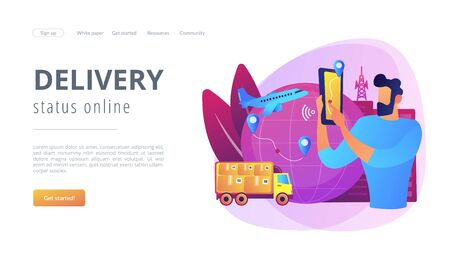 Smart delivery tracking concept landing page. Vectores