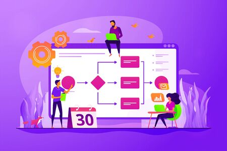 Teamwork, colleagues working on project. Startup launch. Business process management, business process visualization, IT business analysis concept. Vector isolated concept creative illustration