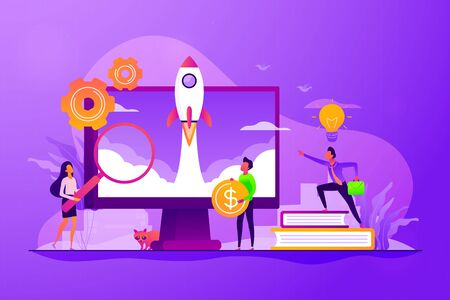 Project management. Business process set up. Enterprise growth. Company development. Start up launch, Start up venture, entrepreneurship concept. Vector isolated concept creative illustration