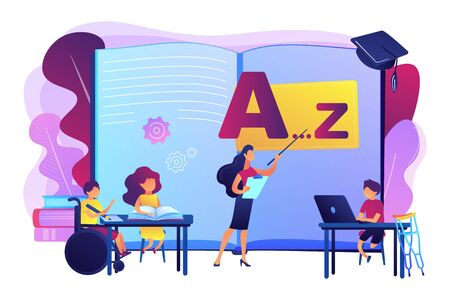 Disabled children studying in school. Learning program. Inclusive education, social and communicative competence, inclusive environment concept. Bright vibrant violet vector isolated illustration