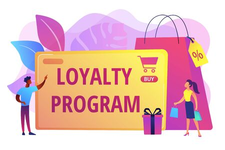 Prämienprogramm für Kunden. Vermarktungsstrategie. Kundenanziehung. Treueprogramm, personalisierte Werbung, verwenden Sie Ihr Kaufhistorienkonzept. Helle vibrierende violette Vektorillustration
