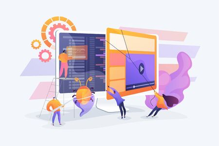 Debugging development process. Programmer work. Game programming. IT software application testing, quality assurance, QA team and bug fixing concept. Vector isolated concept creative illustration