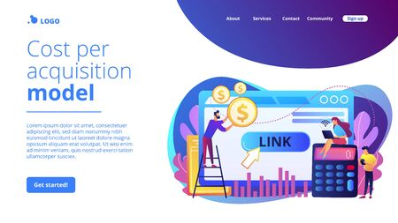 Cost per acquisition CPA model concept landing page.