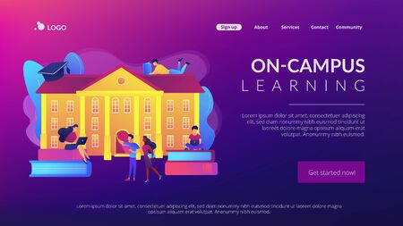 College campus concept landing page  イラスト・ベクター素材